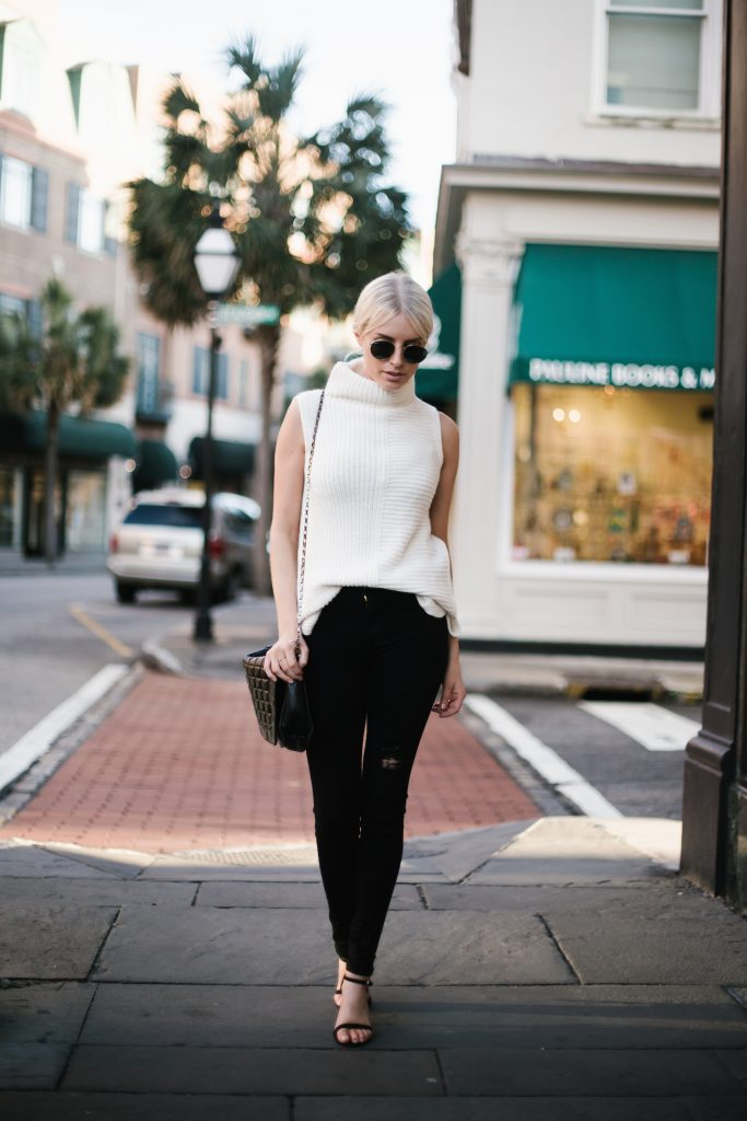 sleeveless turtleneck sweater topshop james jeans black skinny jeans distressed black ankle strap heels minimalist blogger winter street style // Charleston Fashion Blogger Dannon Like The Yogurt