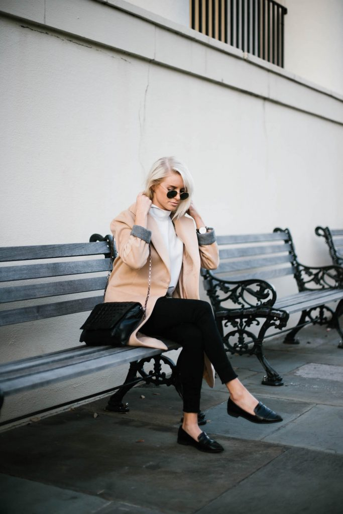 Minimalist forever 21 beige longline coat white high neck tank loafers Street Style Blogger   // Charleston Fashion Blogger Dannon Like The Yogurt