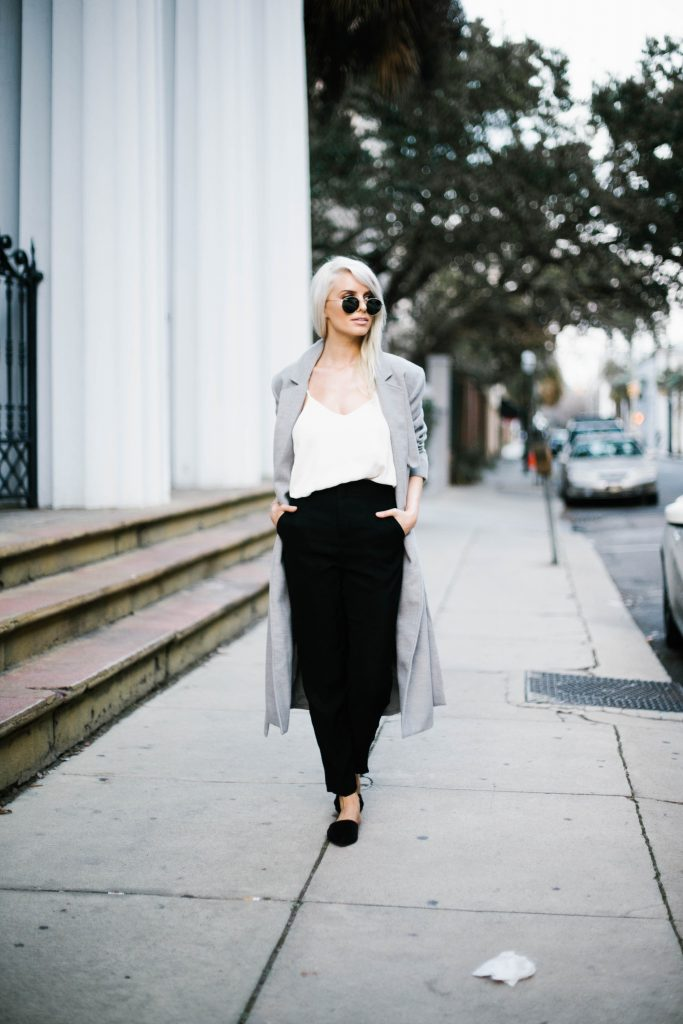 robe coats and slip ons oversized wool long lulus fifth the label asos sandals slippers white cami forever 21 trousers Street Style Blogger   // Charleston Fashion Blogger Dannon Like The Yogurt