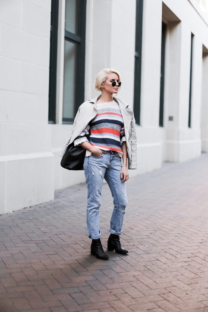 CFW Day 3 Beckett Boutique eleven six kaja fringe stripe sweater beige moto leather jacket boyfriend jeans ankle boots low messy bun street style downtown fashion week   // Charleston Fashion Blogger Dannon Like The Yogurt
