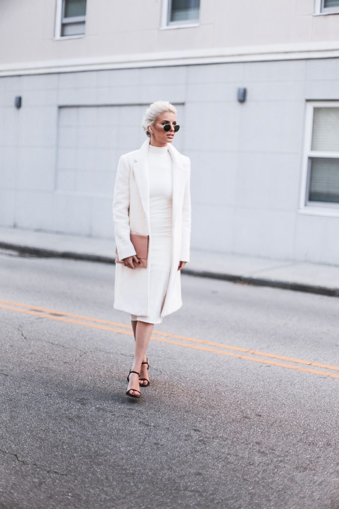 CFW Day 2 Winter Whites asos knit high neck rib maxi dress asos forever 21 boucle coat street style downtown fashion week   // Charleston Fashion Blogger Dannon Like The Yogurt