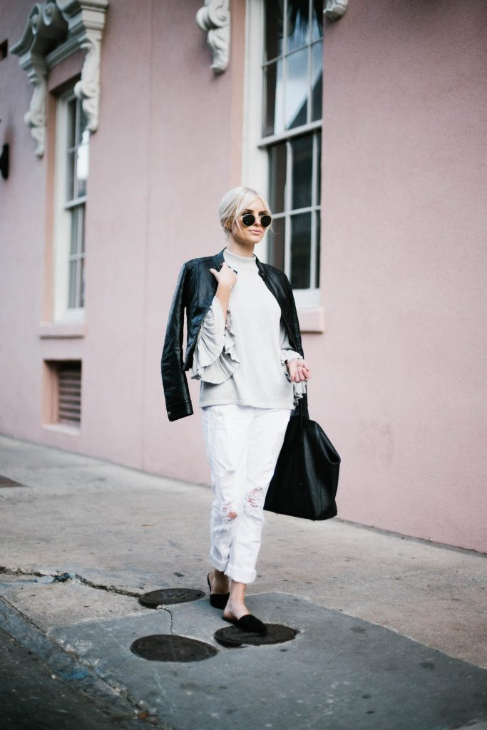 Pleated Sleeves Mango sweater grey pink wall downtown jbrand white distressed boyfriend jeans leather jacket slip-on mules // Charleston Fashion Blogger Dannon Like The Yogurt