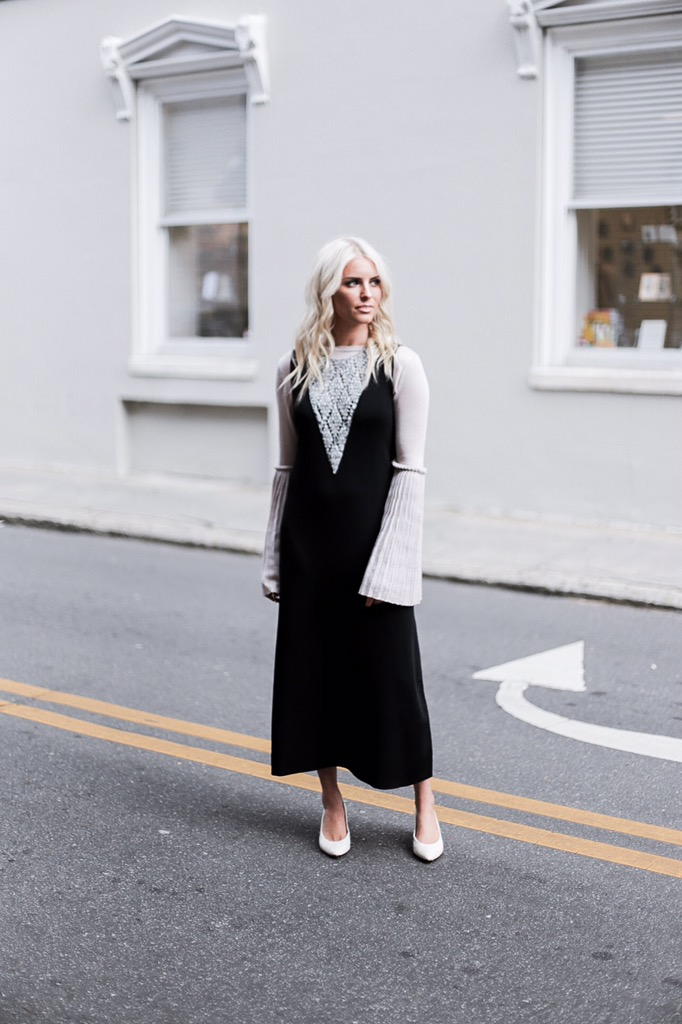 CFW Day 1 Leo & Sage crochet inset dress knit black marled club sweater dewberry hotel fashion week trumpet pleated sleeves street style winter 2017 // Charleston Fashion Blogger Dannon Like The Yogurt white block kitten heels