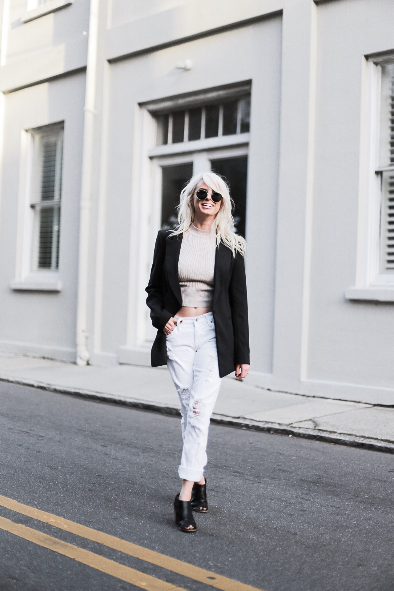 90's Crop ribbed knit mock neck tank distressed white boyfriend jeans black peep toe slip on mules longline blazer // Charleston Fashion Blogger Dannon Like The Yogurt