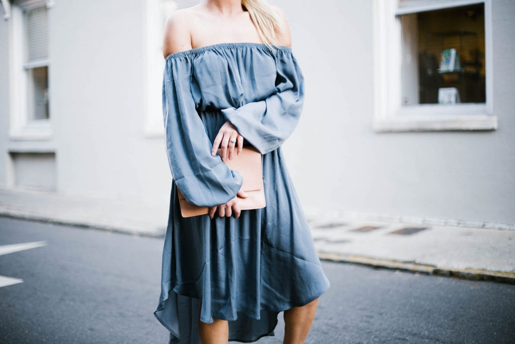 Spring Satins Forever 21 off-the-shoulder dress nude ballet flats blush clutch round sunglasses southern street style downtown fashion week // Charleston Fashion Blogger Dannon Like The Yogurt
