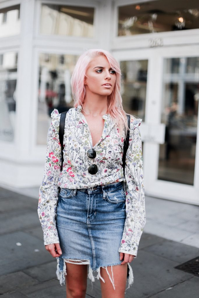High Water Festival with The Frye Company floral blouse button-up shirt distressed high waist denim pencil skirt white ellen monk ankle boots booties casey backpack platinum blonde pink hair spring southern street style downtown // Charleston Fashion Blogger Dannon Like The Yogurt
