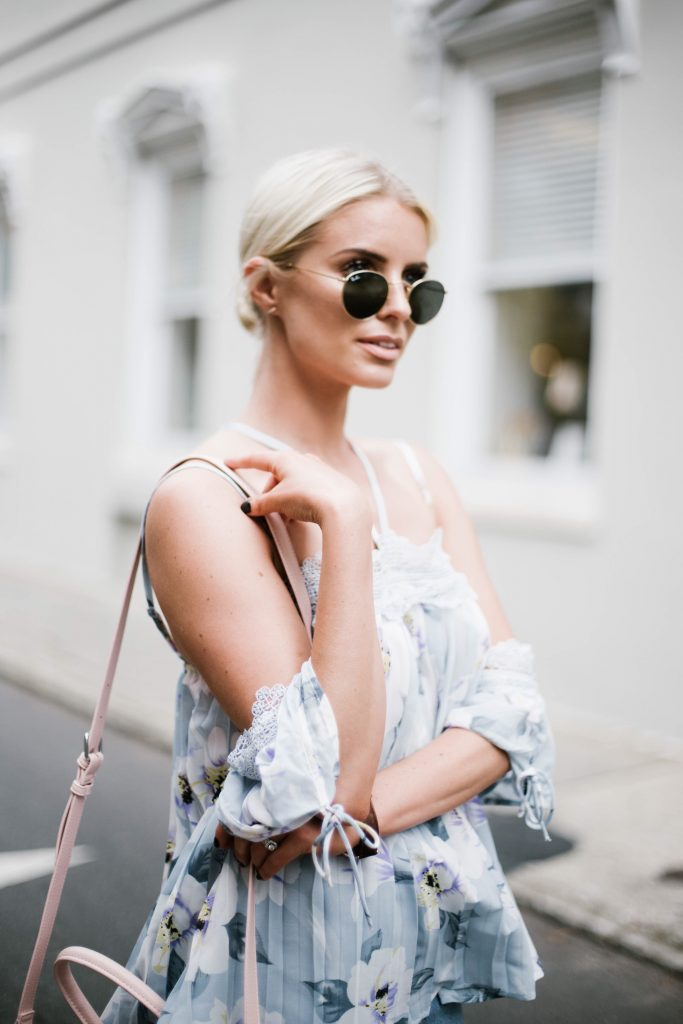 Floral Cami Forever 21 open shoulder cami lace pleated off-the-shoulder top paige denim slit skirt ankle strap tan sandals platinum blonde hair spring southern street style downtown   // Charleston Fashion Blogger Dannon Like The Yogurt