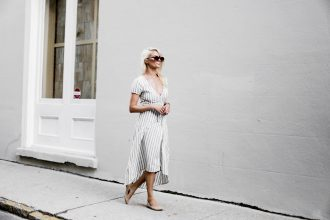 Linen Stripes ride side wrap dress v neck short sleeve midi ankle strap sandals platinum blonde hair spring southern street style downtown // Charleston Fashion Blogger Dannon Like The Yogurt