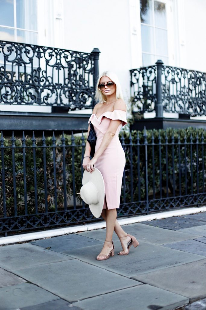 Posh Style Bardot Bella Midi Dress Peach pink off the shoulder body con ankle strap sandals european italian style platinum blonde hair spring southern street style downtown // Charleston Fashion Blogger Dannon Like The Yogurt