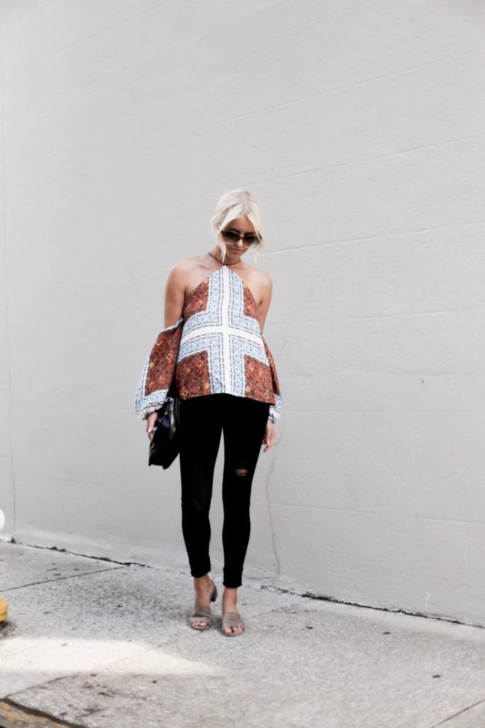 Paisley Prints line & Dot Tasha Halter Top off the shoulder tan suede mules european italian style platinum blonde hair spring southern street style downtown   // Charleston Fashion Blogger Dannon Like The Yogurt