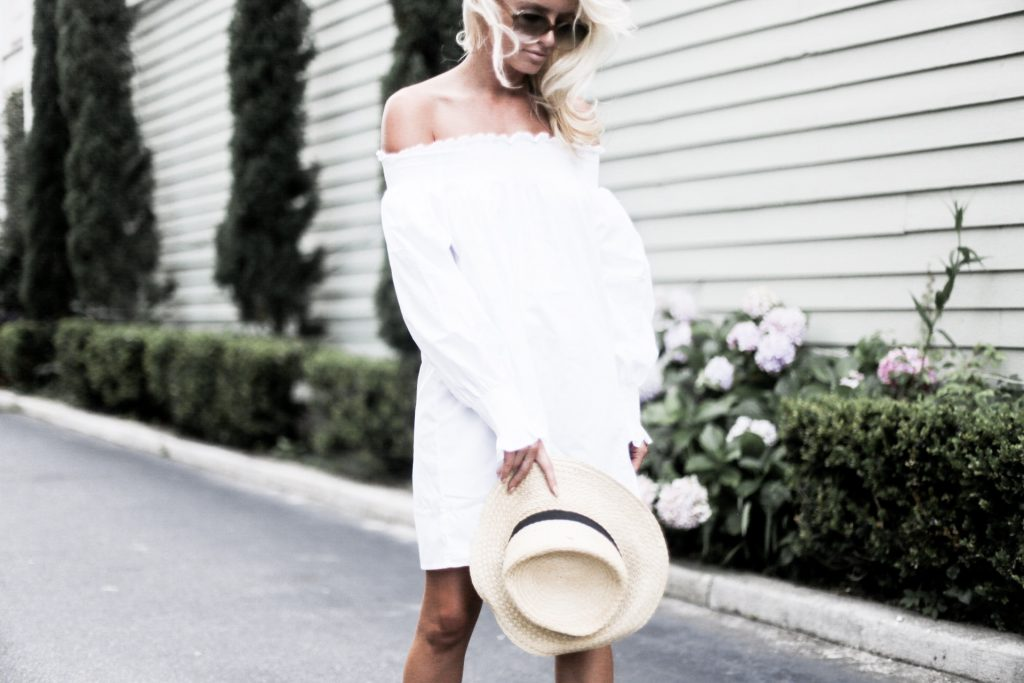 Summer Smocks Summer white off-the-shoulder dress under $100   // Charleston Fashion Blogger Dannon Like The Yogur