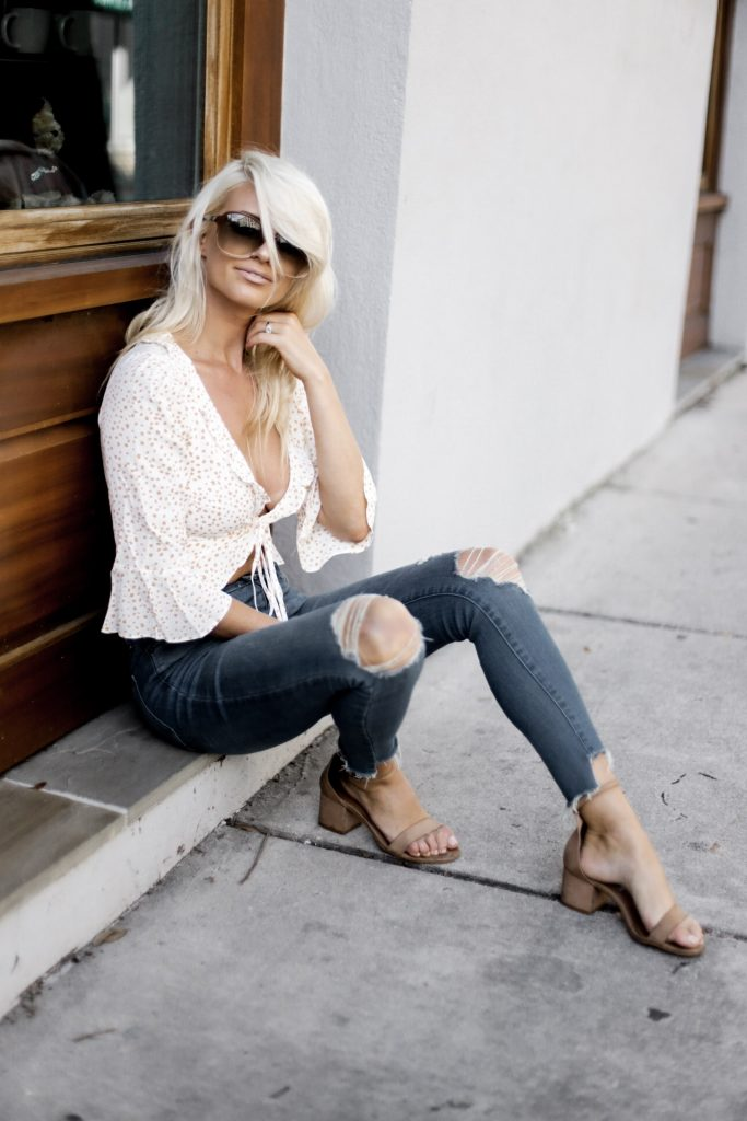 Almost Fall Aurora Tie Top Revolve Crop ruffle plunge neck skinny jeans steve madden ankle strap sandals oversized sunglasses tousled long platinum hair   // Charleston Fashion Blogger Dannon Like The Yogurt