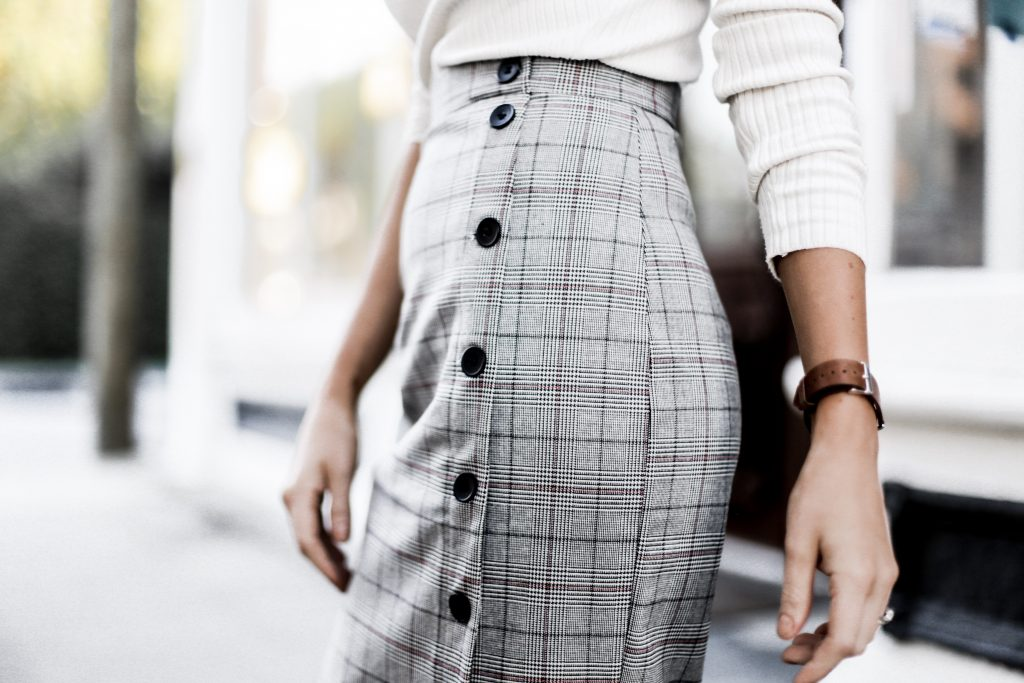 Checkered plaid button pencil midi skirt high neck ribbed cream sweater 50's style  // Charleston Fashion Blogger Dannon Like The Yogurt