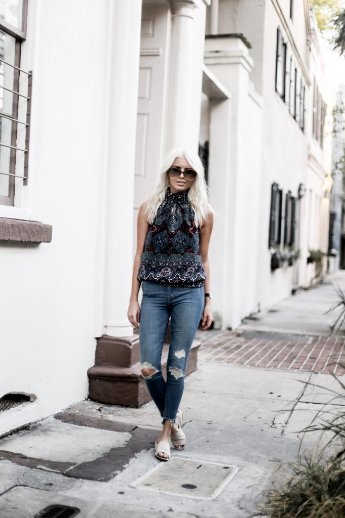 70's Hippie style high neck halter all autumn 2017 vienna kimmie top amanda uprichard skinny jeans mules oversized sunglasses Charleston Fashion Blogger Dannon Like The Yogurt