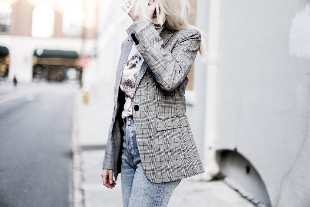 90's Punk Kid style checkered plaid blazer coat boyfriend mom jeans vintage graphic tee  // Charleston Fashion Blogger Dannon Like The Yogurt