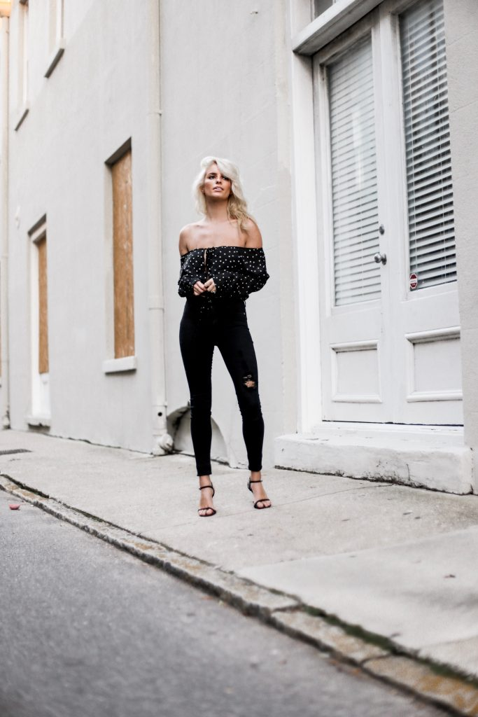 Hocus Pocus off the shoulder long sleeve top blouse black white stars honey punch skinny jeans halloween fall 2017 street style Charleston Fashion Blogger Dannon Like The Yogurt