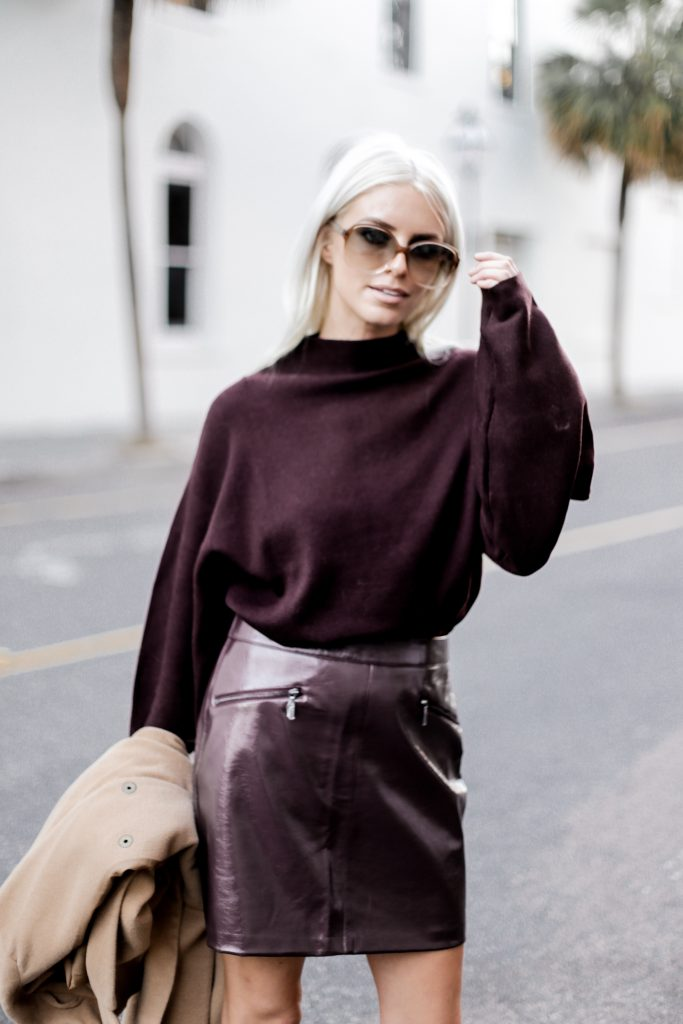 Leather Maroon mini high waist skirt oversized knit sweater burgundy camel coat loafers fall 2017 street style Charleston Fashion Blogger Dannon Like The Yogurt