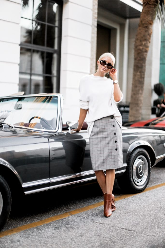 Business Attire Fall houndstooth checker plaid pencil skirt buttons camel ankle boots white chunky knit sweater downtown street style Charleston Fashion Blogger Dannon Like The Yogurt