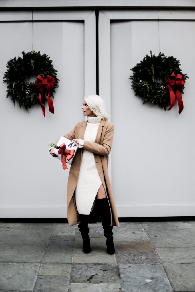 Haul Out the Holly camel long coat wool black suede over the knee boots turtleneck sweater dress white H&M Charleston Fashion Blogger Dannon Like The Yogurt