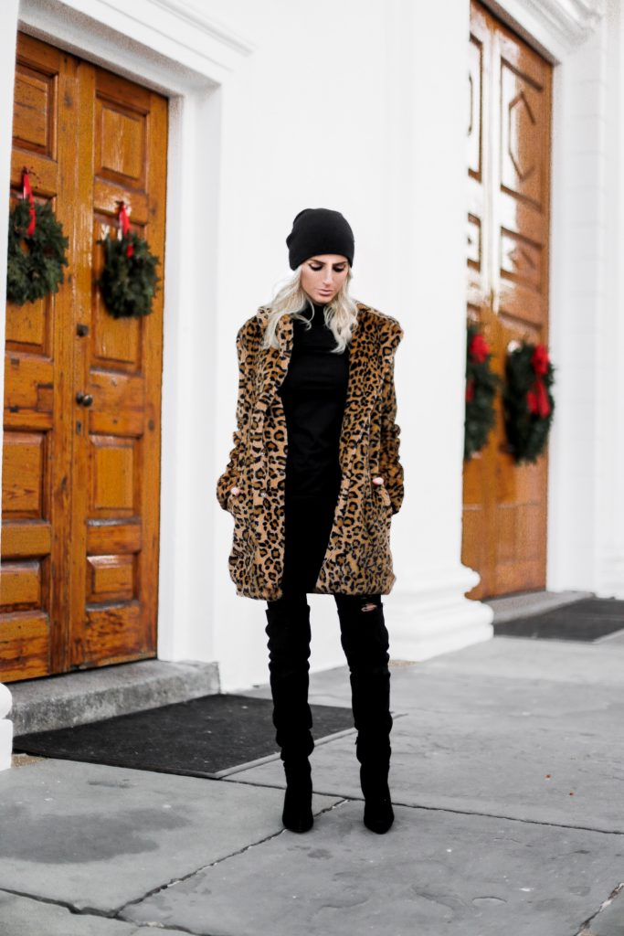 Winter Leopard faux fur coat black beanie cold winter wear chic over the knee suede boots target turtleneck forever 21 black skinny jeans Charleston Fashion Blogger Dannon Like The Yogurt