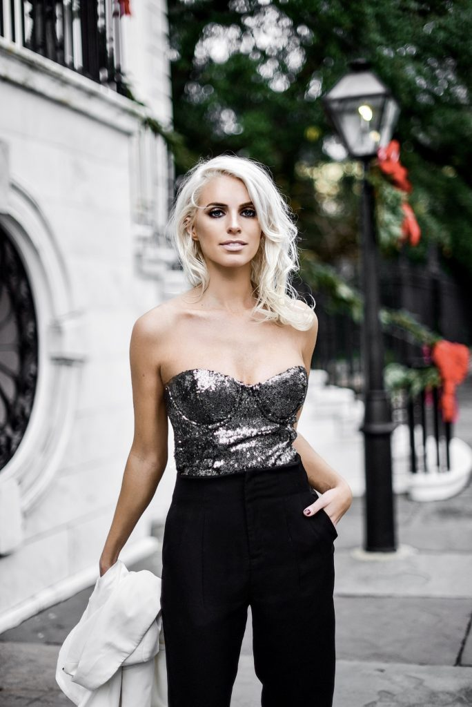 NYE Sequin Corset new years eve party bodysuit outfit Charleston Fashion Blogger Dannon Like The Yogurt house of harlow revolve forever 21 black trousers high waist ankle strap heels suede white longline blazer
