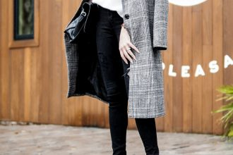 Sunday Brunching Grace and Grits Plaid Checkered long coat forever 211 white high neck sweater black skinny jeans nude heels Charleston Fashion Blogger Dannon Like The Yogurt
