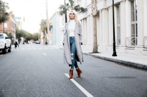 Winter Neutrals Winter Neutrals grey wool long coat white turtleneck ribbed sleeveless crop top skinny jeans camel ankle boots Charleston Fashion Blogger Dannon Like The Yogurt