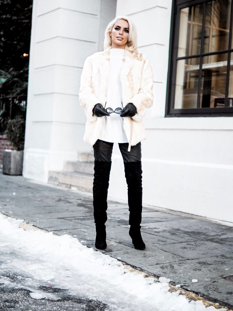 snowed vintage fur white leather pants thigh high boots platinum blonde cat eye sunglasses Charleston Fashion Blogger Dannon Like The Yogurt