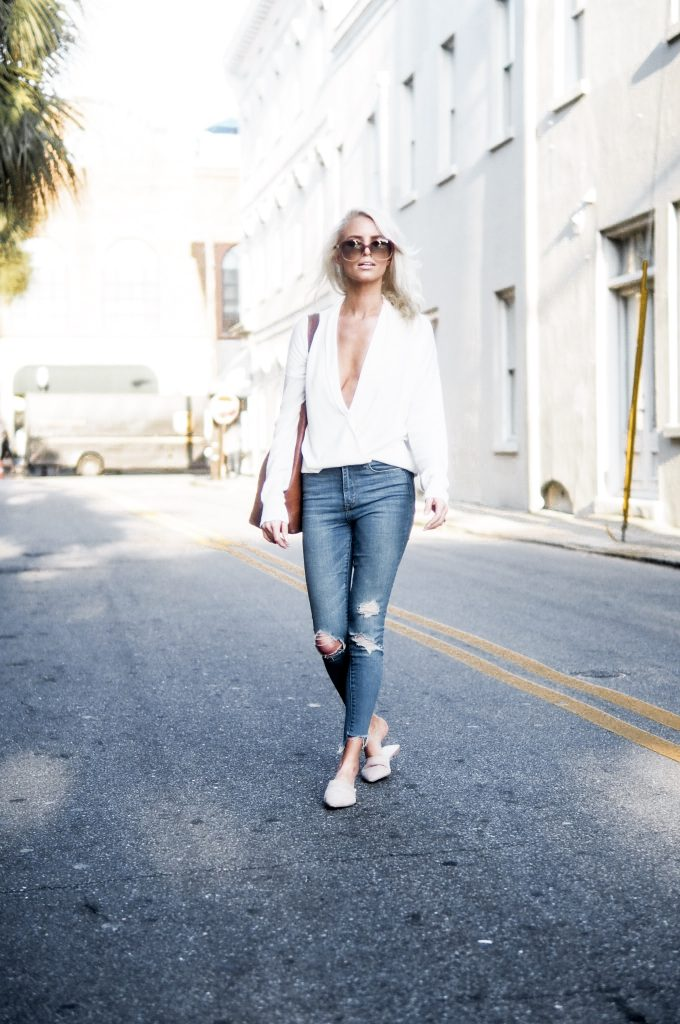 Take The Plunge plunge neck sping street style // charleston fashion blogger dannon k collard like the yogurt