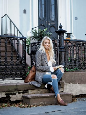 Brownstones in Charleston check plaid long coat brown loafers sweater skinny jeans // charleston fashion blogger dannon k collard like the yogurt